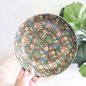 Vintage floral viking import paper maché bowl
